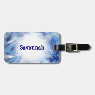 Blue Feathers Luggage ID Tag