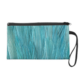 Blue Feathers Wristlet