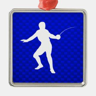 Blue Fencing Christmas Ornament