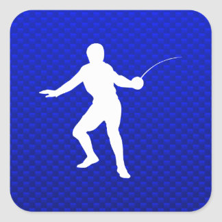 Blue Fencing Square Sticker