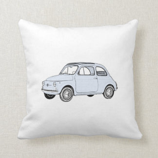 Blue Fiat 500 Topolino Pencil Style Drawing Cushion