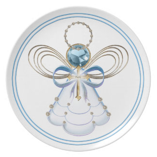 Blue Filigree Christmas Angel of Faith Plate