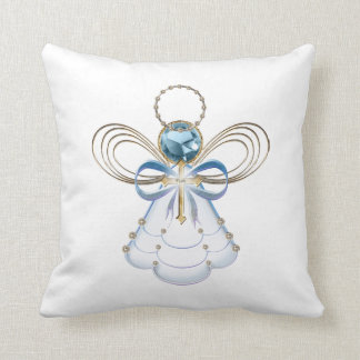 Blue Filigree Christmas Angel of Faith Throw Pillow