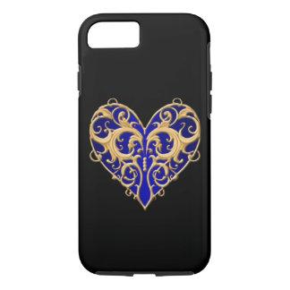 Blue Filigree Heart iPhone 7 Case