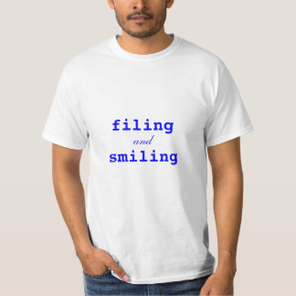 Blue Filing and Smiling T-Shirt