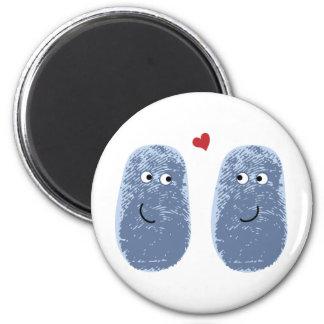Blue Fingerprint Pair 6 Cm Round Magnet