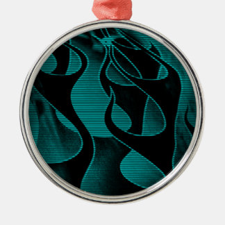 Blue Fire Flames Add Text Silver-Colored Round Decoration