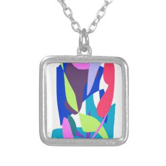 Blue Fire Square Pendant Necklace