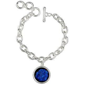 Blue Fire Rose Charm Bracelet