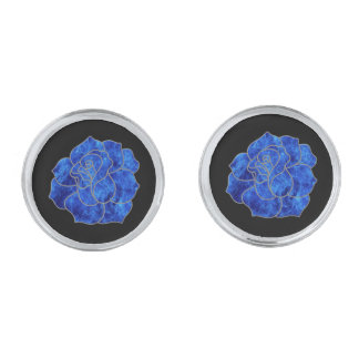 Blue Fire Rose Cufflinks Silver Finish Cufflinks