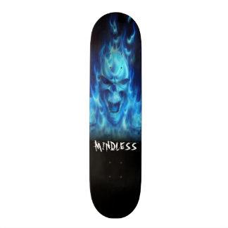 Blue fire skull deck skate deck