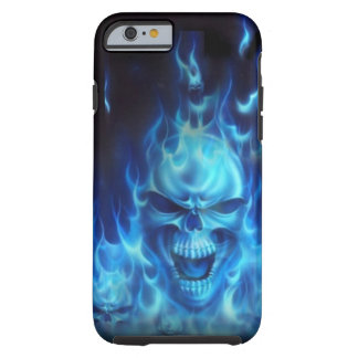 Blue Fire Skull Tough iPhone 6 Case