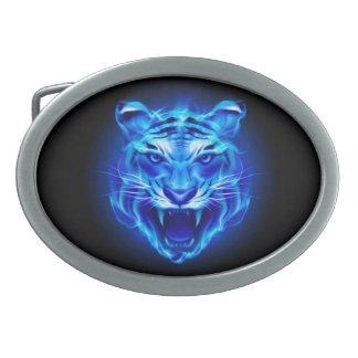 Blue Fire Tiger Face Oval Belt Buckle