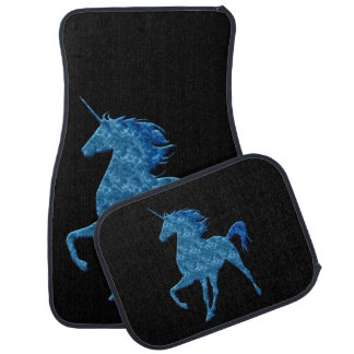 Blue Fire Unicorn Car Mats