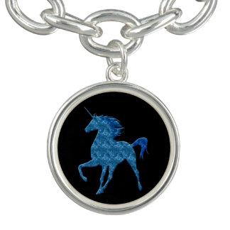Blue Fire Unicorn Charm Bracelet