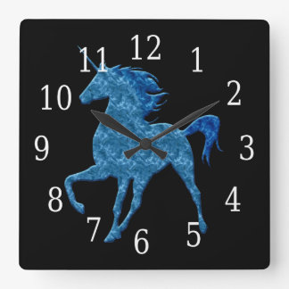 Blue Fire Unicorn Clock