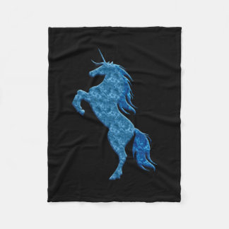 Blue Fire Unicorn Fleece Blanket