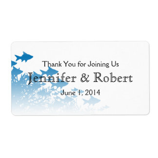 Blue Fish and Coral Wedding Water Bottle Label Shipping Label