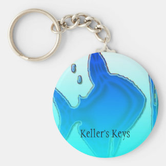 Blue Fish Basic Round Button Key Ring