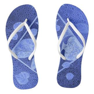 Blue fish flip flops