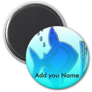 Blue Fish 6 Cm Round Magnet