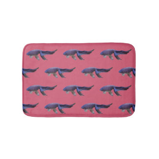 blue fish on pink bathmat