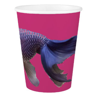 blue fish on pink paper cup