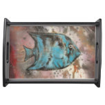 blue fish painting food trays