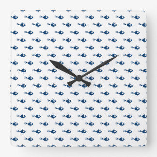 Blue Fish Pattern Wall Clock