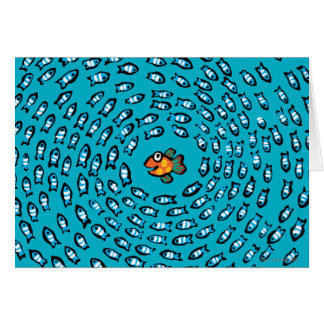 Blue Fish School Pattern with Small Orange Fish Card