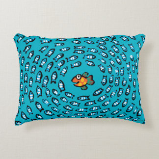 Blue Fish School Pattern with Small Orange Fish Decorative Cushion