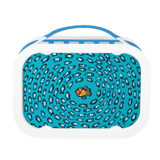 Blue Fish School Pattern with Small Orange Fish Lunch Box