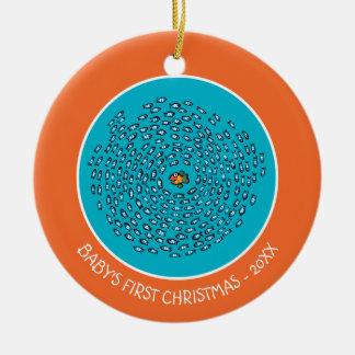 Blue Fish School Pattern with Small Orange Fish Round Ceramic Decoration