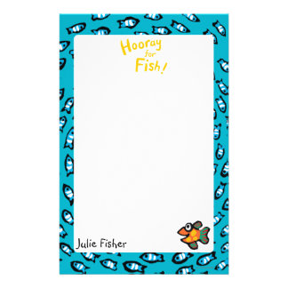 Blue Fish School Pattern with Small Orange Fish Stationery