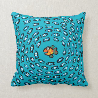 Blue Fish School Pattern with Small Orange Fish Throw Pillow