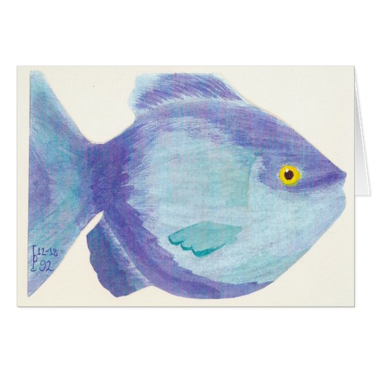 Blue Fish - Watercolor Card