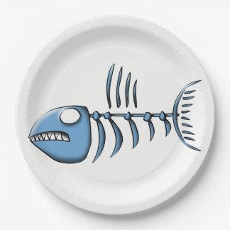 Blue Fishbone 9 Inch Paper Plate