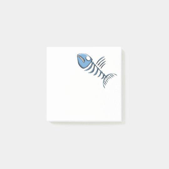 Blue fishbone post-it notes