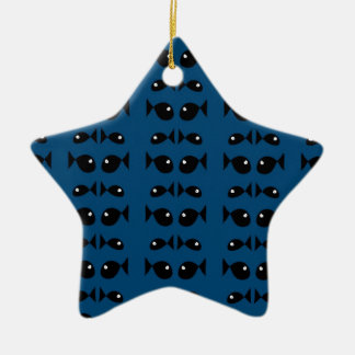 Blue fishes ceramic star decoration