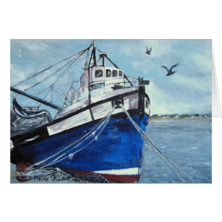 Blue Fishing Boat Card