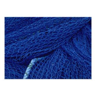 Blue fishing net announcement