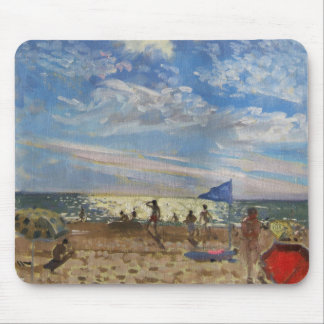Blue flag and red sun shade Montalivet Mouse Mat