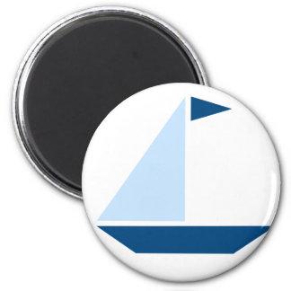 Blue Flag Sail Boat 6 Cm Round Magnet