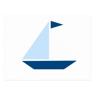 Blue Flag Sail Boat Postcard