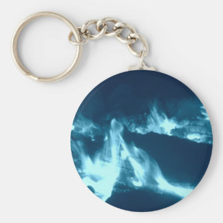 Blue Flame Basic Round Button Key Ring