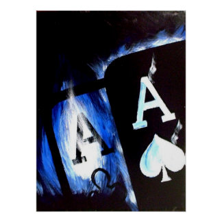 Blue Flame Pocket Aces Poker poster by Teo Alfonso