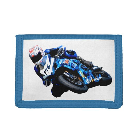 Blue Flamed motorcycle racing Tri-fold Wallet