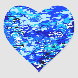 Blue Flames Background Heart Sticker
