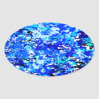 Blue Flames Background Oval Sticker