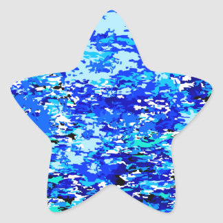 Blue Flames Background Star Sticker